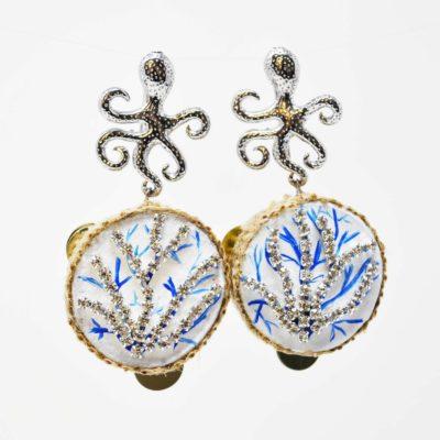 Orecchini piovra decorati blu