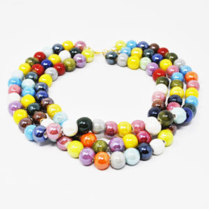 Collier in ceramica, perle colorate