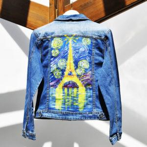 Giubotto in jeans vintage Torre Eiffel