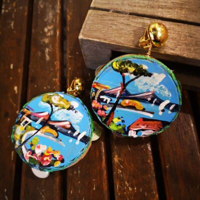 Tamburello in legno dipinto a mano Napoli