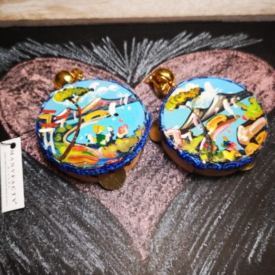 Tamburello in legno dipinto a mano