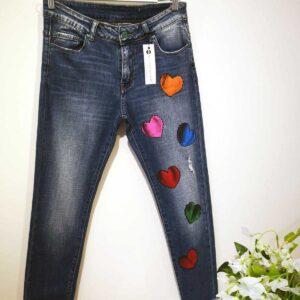 Jeans dipinto a mano Cuori