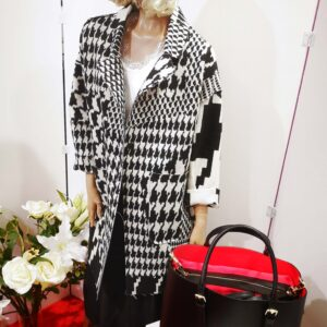 Cappotto taglio vivo fantasia Black and White