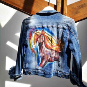 Giubotto in jeans Unicorno